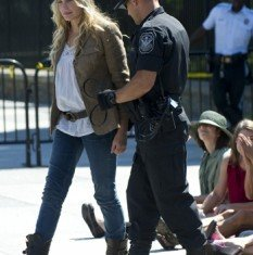 Daryl Hannah was among more than 70 people arrested Tuesday