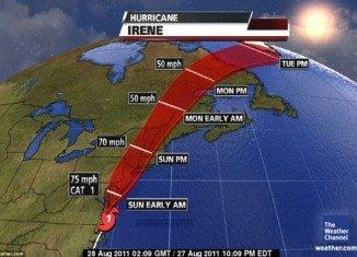 Hurricane Irene path along East Coast