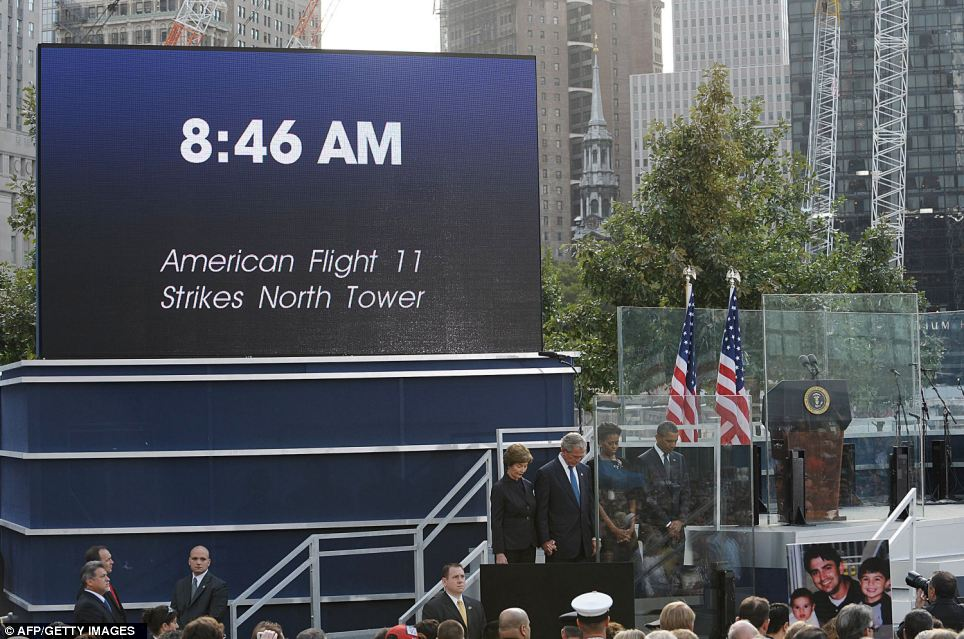 9/11 commemoration ceremony 2011: a minute of silence was held at 8:46 a.m. to mark the instant the first plane went into the North Tower