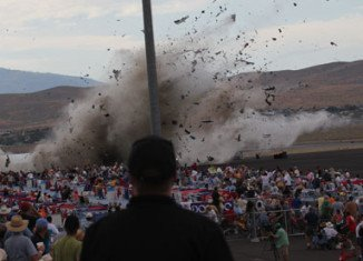 Galloping Ghost, the P-51 Mustang fighter plane plunges into the grandstands of Reno Air Race event