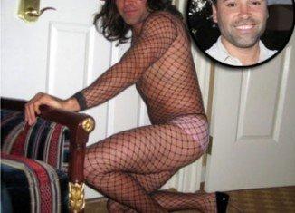 Oscar De La Hoya in fishnet stockings and high heels