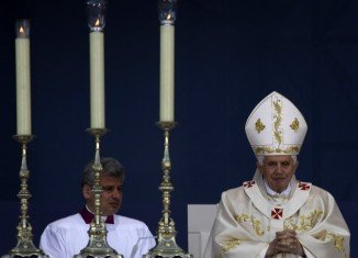Pope Benedict XVI prays during the Mass held in Erfurt after the shooting incident.