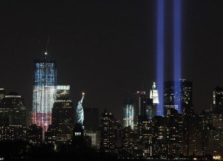 """The """"Tribute in Lights"""" could be seen in New York on Saturday night, shining into the sky as a mark of remembrance of the World Trade Centre Twin Towers"""