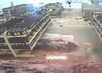 6,810 bottles of the world's finest wine and champagne crashed on the floor at Superior Discount Liquors in Sheboygan, Wisconsin