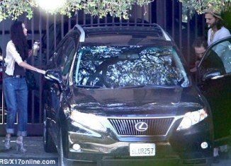 Demi Moore and Ashton Kutcher kept their distance as they left their Los Angeles home, apparently on the way to a counselling session at the Beverly Hills centre for the Kabbalah religious group