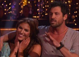 """Maksim Chmerkovskiy got into a blazing row with judge Len Goodman following the couple's Rumba to """"Seasons Of Love"""" from the Broadway Musical Rent"""