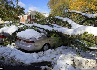 The unseasonable snowstorm which hit the US East Coast, with some areas of Massachusetts seeing more than 27 inches of snow, killed at least nine people and left three million houses without power