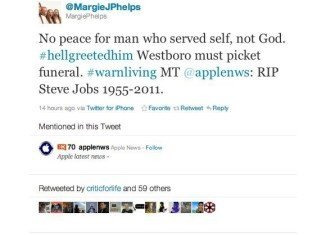 Westboro Baptist Church announced its plans to protest Steve Jobs' funeral, sending the message out via Twitter for iPhone