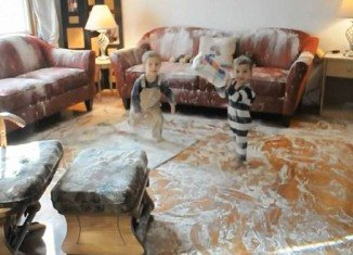 A mother of two boys, aged one and three, emerged from a visit to the bathroom when she found her entire living room covered in flour