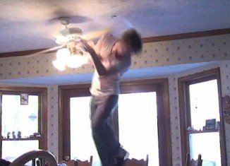 A funny video on YouTube shows a man attempt to grab a tomato attached by a string through the blades of a ceiling fan with predictably painful consequences