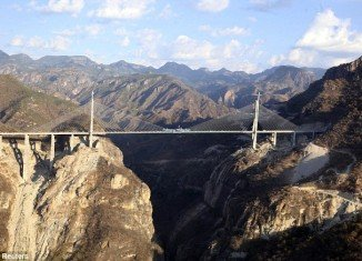 Baluarte Bicentennial Bridge is 403 meters or 1,322 feet tall and connects between the northwestern states of Sinaloa and Durango in the Sierra Madre Occidental mountains
