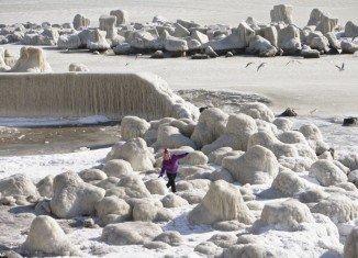 Black Sea is frozen near the Romanian coastline