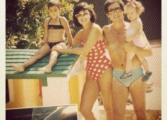 Kim Kardashian with her mother Kris, father Robert Kardashian and sister Khloe