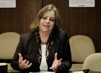 Maria Elena Medina, director of the National Institute of Psychiatry, speaks about the patent of a new vaccine that could reduce addiction to heroin, during a news conference at the institute in Mexico City
