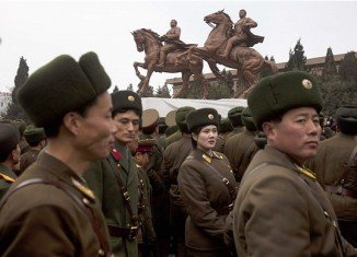 The 6-metre bronze statue depicts Kim Jong-Il riding a horse next to his late father, Kim Il-Sung, also on horseback