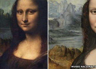 """The Art Newspaper said the removal of the black paint on the replica had revealed """"the fine details of the delicate Tuscan landscape"""", which mirrors the background of Leonardo's masterpiece"""