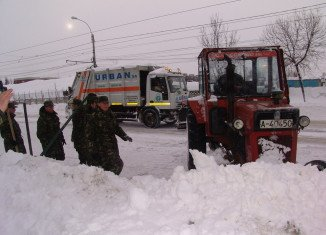 Troops in Romania were deployed last week to rescue those stranded in cars by blizzards
