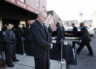 Whitney Houston's casket arrived at New Hope Baptist Church in her hometown Newark, New Jersey