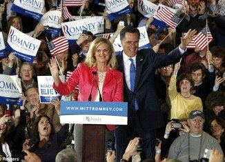 Mitt Romney and his wife Ann at their Super Tuesday primary rally in Boston