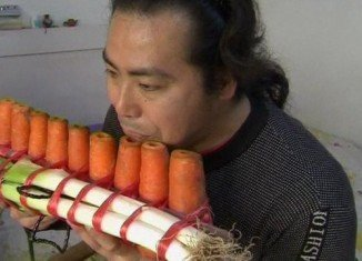 Nan Weidong and Nan Weiping have been making playable flutes with everything from leeks to carrots