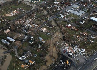 """Tornadoes have destroyed towns in Southern Indiana, including Henryville, pictured, and neighboring Marysville, which is """"completely gone"""""""
