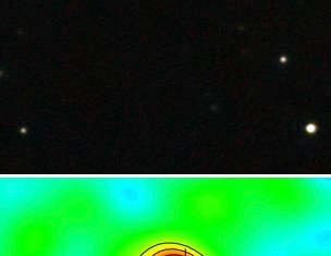 Vast amounts of gas and dust have been detected in the J1120+0641 galaxy (that red dot in green circle) contains the most distant supermassive black hole known to science