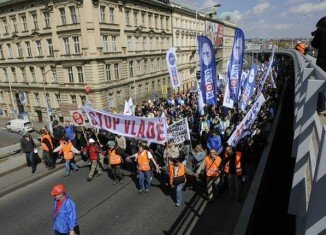 Anti-government protesters in the Czech Republic have staged what they describe as the biggest rally since the fall of communism in 1989