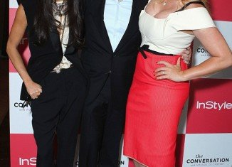 Demi Moore looks healthier as she posed with Ariel Foxman and her pal Amanda to celebrate the launch of her TV show The Conversation