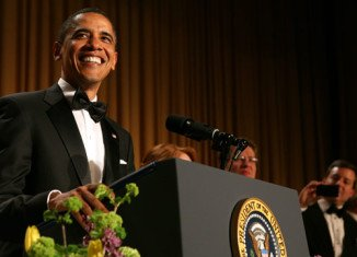 President Barack Obama shared a meal with politicians, journalists and stars at the 98th annual White House Correspondents' Dinner