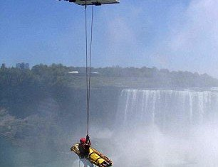 A man in his 40s survived and was lifted to safety during a harrowing rescue after he plunged at least 180 feet over Niagara Falls in an apparent suicide attempt