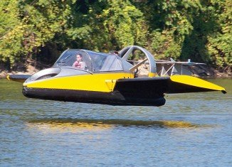 Available through U.S luxury goods firm Hammacher Schlemmer, the bright yellow amphibious and airborne vehicle features a 130 horsepower twin-cylinder, liquid-cooled engine and can hit speeds of up to 70 mph