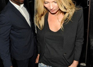 Kate Moss emerged from Mexican restaurant La Bodega Negra in London on Thursday night with her flies undone