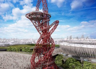 The completed steel sculpture, known as ArcelorMittal Orbit, stands at the heart of the Olympic Park