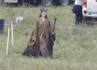 Angelina Jolie is certainly in need of regular touch-ups for her latest role and was spotted being pampered on the set of Maleficent in Buckinghamshire