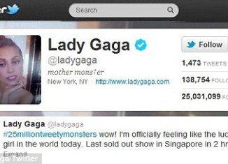 Lady Gaga became the first person to pass 25 million followers on Twitter as she immediately tweeted her gratitude to fans yesterday.