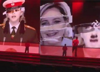 Madonna was today threatened with legal action and accused of being an ageing self-publicist after she depicted Marine Le Pen, the head of France's National Front, as a Nazi during a concert in Israel