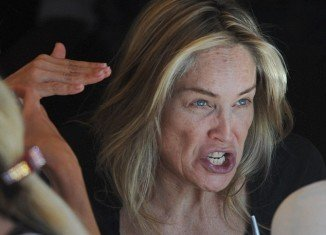 Sharon Stone was looking distinctly tired and washed out as she went out for lunch in Los Angeles yesterday