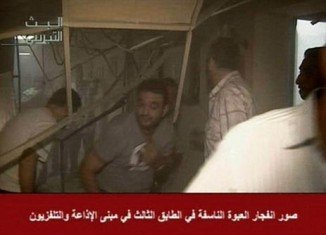 A bomb has exploded on the third floor of Syrian state TV and radio building in the capital, Damascus