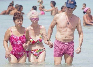 Duchess of Alba and her husband Alfonso Diez were today spotted enjoying a sunshine break on the island of Formentera