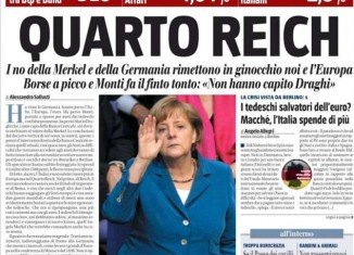 """Il Giornale, owned by former Prime Minister Silvio Berlusconi, has caused controversy by printing a front page headline which said """"Fourth Reich"""" above a picture of German chancellor Angela Merkel"""