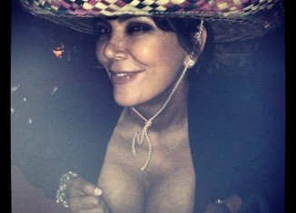 Kris Jenner flaunted her ample chest for her over two million Twitter followers