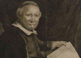 Rembrandt's etching of Lieven Willemsz van Coppenol, Writing-Master, is made around 1658