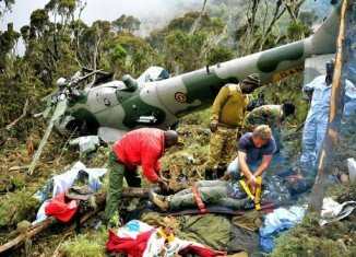 The wreckage of two Ugandan helicopters that went missing on Sunday has been found in a remote area of Kenya