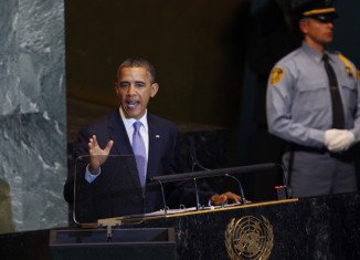Barack Obama is addressing the UN General Assembly in New York