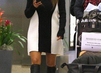 Kim Kardashian wore a monochrome optical illusion dress, which failed to accentuate her figure's attributes