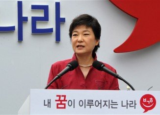 Park Geun-hye is the ruling party candidate for the South Korean presidential elections in December