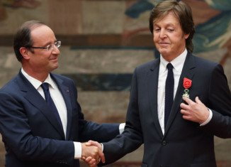 Sir Paul McCartney was decorated with France's Legion of Honour by President Francois Hollande during a ceremony at the Elysee Palace in Paris