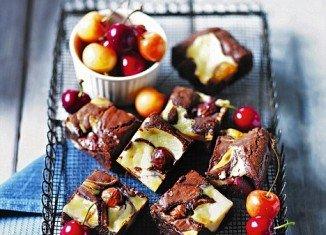 Cherry and dark chocolate brownies