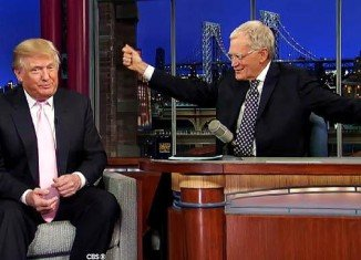 Donald Trump has made his first public appearance since huge announcement on the Late Show With David Letterman