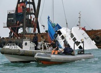 Dozens of people were thrown into the waters as the pleasure boat sank within minutes of impact